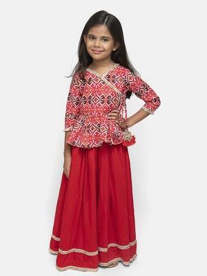 Red plain cotton stitched kids lehenga choli