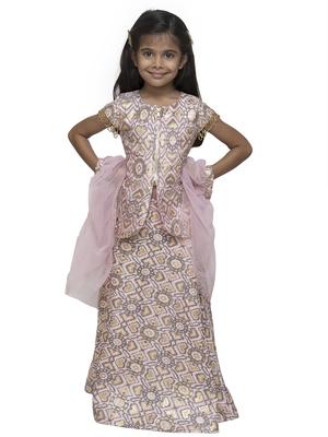 Pink printed silk blend stitched kids lehenga choli