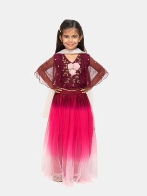 purple plain net stitched kids lehenga choli