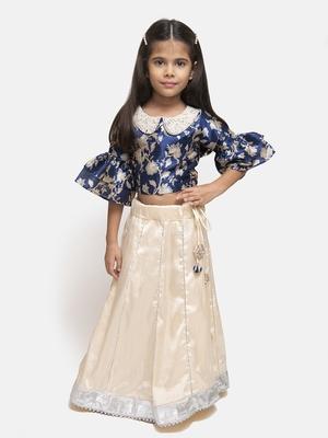 white plain silk blend stitched kids lehenga choli