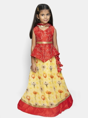 Yellow Embroidered Silk Blend Stitched Kids Lehenga Choli