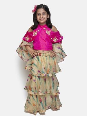 golden embroidered Organza stitched kids lehenga choli