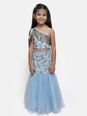 blue embroidered Net  stitched kids lehenga choli