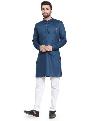 Blue plain cotton kurta-pajama