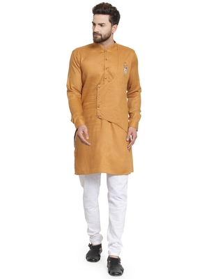 Gold plain cotton kurta-pajama