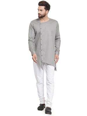 Grey plain cotton kurta-pajama
