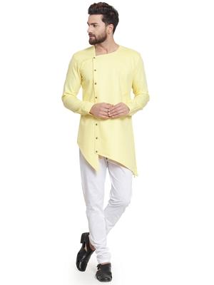 Yellow plain cotton kurta-pajama