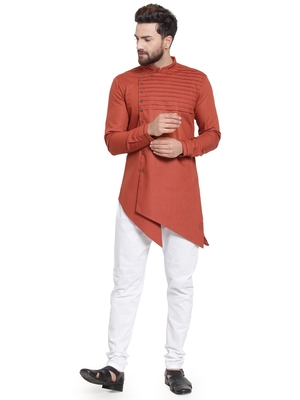Red plain cotton kurta-pajama