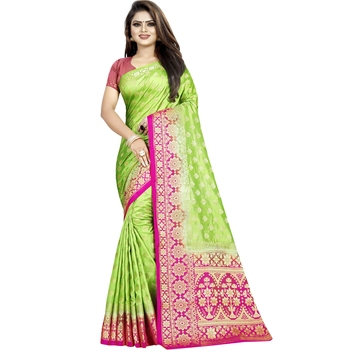 Light green woven tussar silk saree with blouse