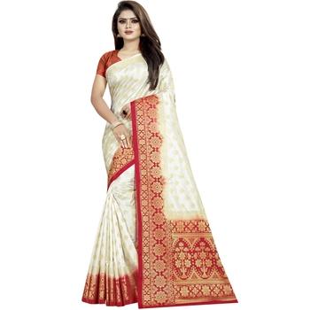 White woven tussar silk saree with blouse