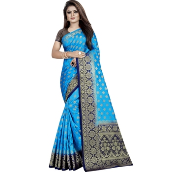 Light blue woven tussar silk saree with blouse