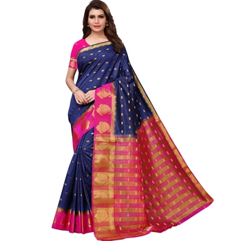 Blue woven tussar silk saree with blouse