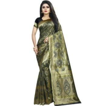 Light brown woven art silk saree with blouse