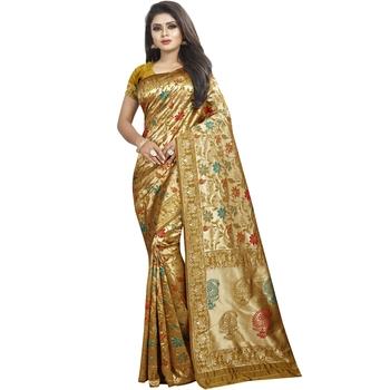 Beige woven art silk saree with blouse