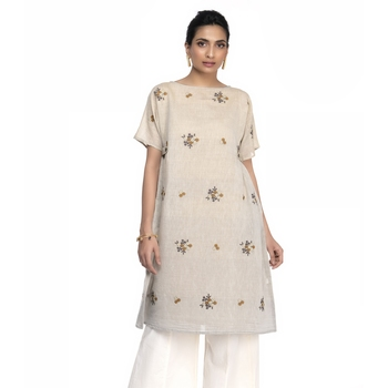 Women's Cream Chanderi Boat Neck A-line Kurti