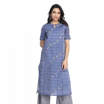 Women's Blue Chanderi Checks Printed Knee Length Kurti