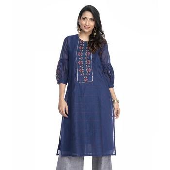 Women's Blue Chanderi Checks Printed Round Neck Straight Kurti