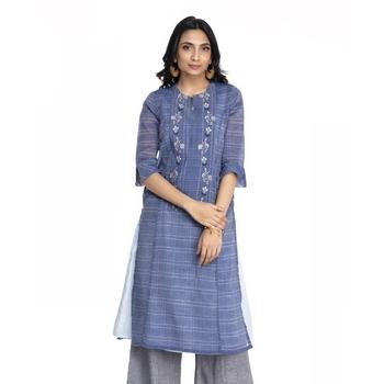 Women's Blue Chanderi Checks Printed Straight Kurti