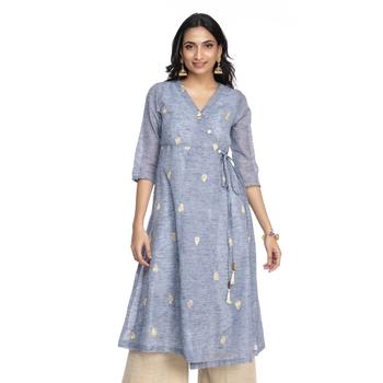 Women's Blue Chanderi Knee Length A-line Kurti