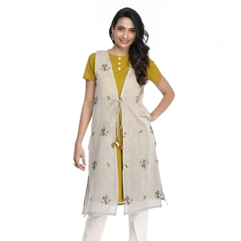 Women's Yellow Chanderi Half Sleeved A-line Kurti