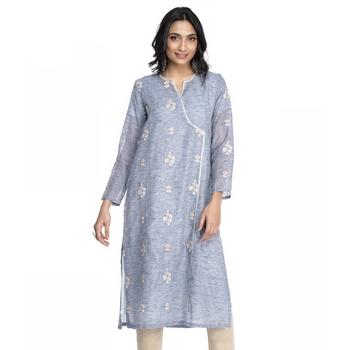 Women's Sky Blue Chanderi 3/4th Sleeved Straight Kurti