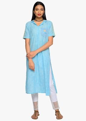 Women's Blue striped kurta with patch pocket