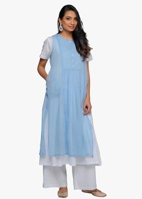 Women's White flared cotton kurta with sleeveless powder blue slip dress