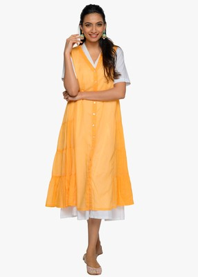 Women's Half sleeved v-neck flared cotton kurta with yellow sleeveless slip dress