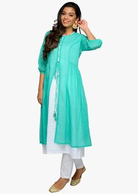 Women's White A-line cotton kurta with jacket