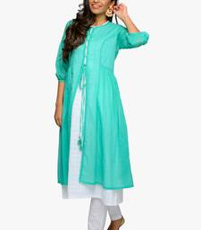 Women's White A-line cotton kurta with jacket