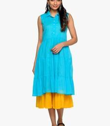Women's Yellow sleeveless flared slip with blue cotton A-line kurta