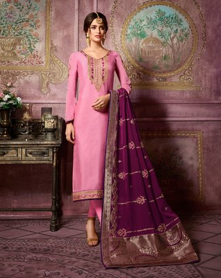 Peach embroidered satin salwar