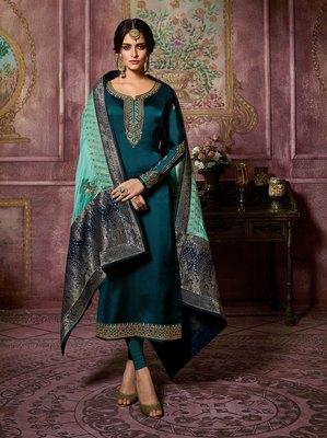 Blue Embroidered Satin Salwar