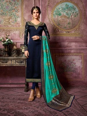 Navy-blue embroidered satin salwar