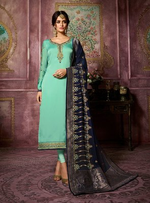 Sky-Blue Embroidered Satin Salwar