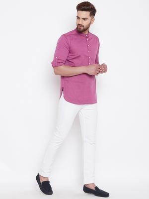 pink woven cotton men kurtas