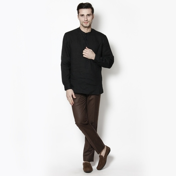 black woven linen men kurtas