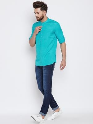 turquoise woven cotton men kurtas