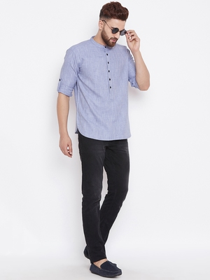 grey woven cotton men kurtas