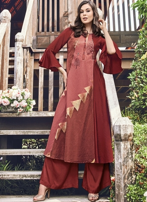 Brown Jacquard Islamic Tunics