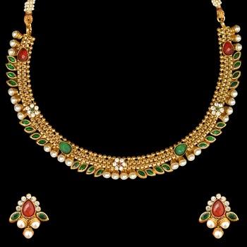 Traditional Indian Bollywood Jewelry Set Pearl Polki Kundan Necklace Set