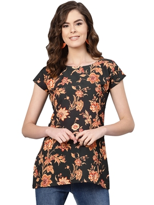 Women's Polyester black Floral Printed Top