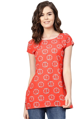 Women's Polyester red Floral Printed Top