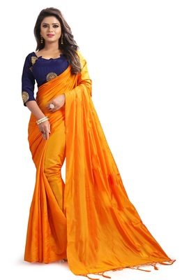 Orange plain art silk sarees saree with blouse