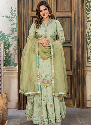 green embroidered satin semi stitched salwar with dupatta