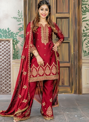 red embroidered satin semi stitched salwar with dupatta