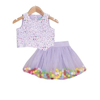 Lavender Pompom Skirt with Asymmetric Crop Top