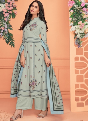 blue embroidered viscose stitched salwar with dupatta
