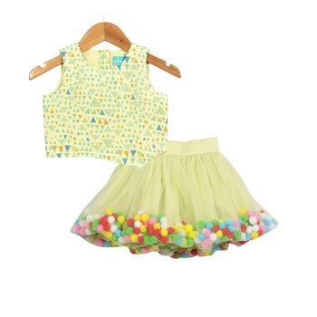 Hue of Green Pompom Skirt with Asymmetric Crop Top