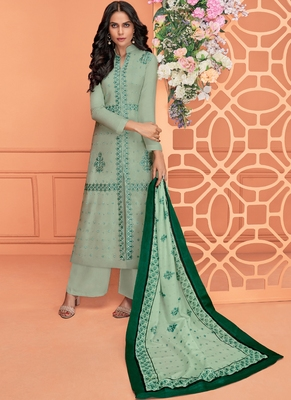 green embroidered viscose stitched salwar with dupatta